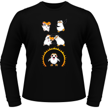 T-Shirts à manches longues  parodique Porg de Star Wars issu de la fusion de Hamtaro et d