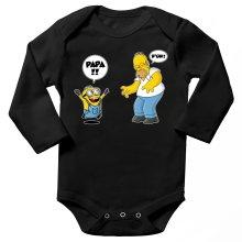 Body bébé manches longues  parodique Kévin le Minion et Homer Simpson : Un fiston trop mignon :) (Parodie )
