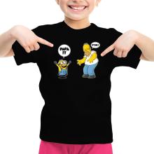 T-shirt Enfant Fille  parodique Kévin le Minion et Homer Simpson : Un fiston trop mignon :) (Parodie )
