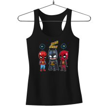 Funny Tank Tops - Batman, Deadpool and Spider-Man Mask Trouble... ( Parody)