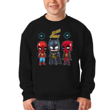 Funny Kids Sweater - Batman, Deadpool and Spider-Man Mask Trouble... ( Parody)
