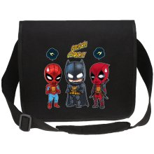 Funny Canvas Messenger Bags - Batman, Deadpool and Spider-Man Mask Trouble... ( Parody)