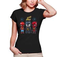T-shirts Femmes  parodique Batman, Deadpool et Spider-Man : Un léger problème de conception au niveau du masque... (Parodie )