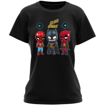 Funny Women T-shirt - Batman, Deadpool and Spider-Man Mask Trouble... ( Parody)