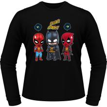 T-Shirts à manches longues  parodique Batman, Deadpool et Spider-Man : Un léger problème de conception au niveau du masque... (Parodie )