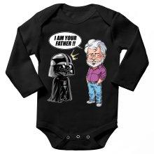 Body bébé manches longues  parodique Dark Vador et George Lucas - I am your Father : Un père pas si inconnu que ça... :) (Version Originale) (Parodie )
