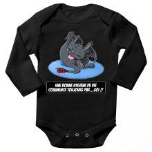 Body bébé manches longues  parodique Krokmou le Dragon : Une bonne hygiène de vie commence toujours par...soi ! (Parodie )
