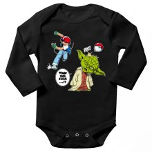 Body bébé manches longues  parodique Yoda et Sacha Ketchum : What the...!? (Parodie )