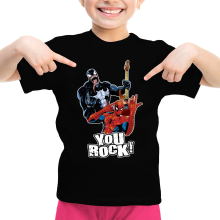 T-shirt Enfant Fille  parodique Spider-Man et Venom : You Rock !! (Parodie )