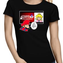 T-shirts Femmes  parodique Mario et la Princesse Peach : Alerte enlèvement... (Parodie )