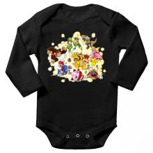 Body bébé manches longues  parodique Mario, Link, Fox, Bowser, Pikachu et Wario : Baston Générale à la sauce gauloise (Parodie )