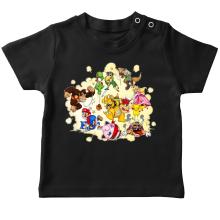 T-shirt bébé  parodique Mario, Link, Fox, Bowser, Pikachu et Wario : Baston Générale à la sauce gauloise (Parodie )