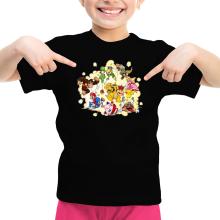 T-shirt Enfant Fille  parodique Mario, Link, Fox, Bowser, Pikachu et Wario : Baston Générale à la sauce gauloise (Parodie )