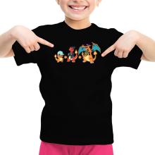 T-shirt Enfant Fille  parodique Dracaufeu, Salamèche et Reptincel : Dragon Evolution (Parodie )