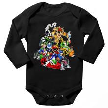 Body bébé manches longues  parodique Mario, Luigi, Yoshi et Bowser : Kart Fighter Racing (Parodie )