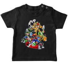 T-shirt bébé  parodique Mario, Luigi, Yoshi et Bowser : Kart Fighter Racing (Parodie )