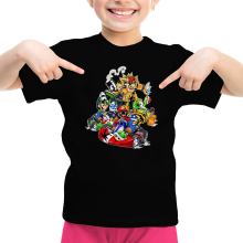 T-shirt Enfant Fille  parodique Mario, Luigi, Yoshi et Bowser : Kart Fighter Racing (Parodie )