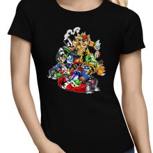 T-shirts Femmes  parodique Mario, Luigi, Yoshi et Bowser : Kart Fighter Racing (Parodie )