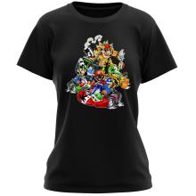 T-shirt Femme  parodique Mario, Luigi, Yoshi et Bowser : Kart Fighter Racing (Parodie )