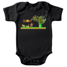 Body bébé  parodique Donatello,Leonardo,Raphael, Michelangelo et Mario : La Revanche des Tortues ! (Parodie )