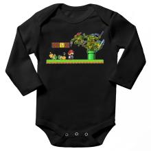 Body bébé manches longues  parodique Donatello,Leonardo,Raphael, Michelangelo et Mario : La Revanche des Tortues ! (Parodie )