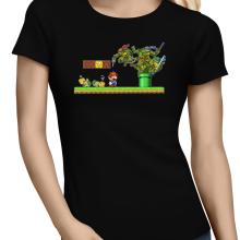 T-shirts Femmes  parodique Donatello,Leonardo,Raphael, Michelangelo et Mario : La Revanche des Tortues ! (Parodie )