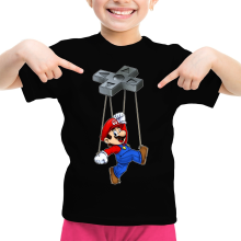 T-shirt Enfant Fille  parodique Mario : Mario-nette ON (Parodie )