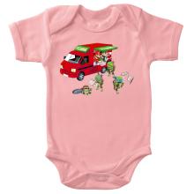 Body bébé (Filles)  parodique Mario; Luigi; Leonardo, Raphael, Donatello et Michelangelo : Pizza Party ! (Parodie )