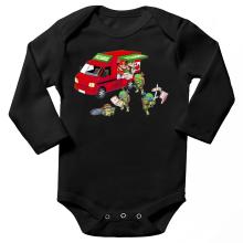 Body bébé manches longues  parodique Mario; Luigi; Leonardo, Raphael, Donatello et Michelangelo : Pizza Party ! (Parodie )