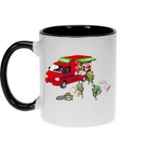 Mug  parodique Mario; Luigi; Leonardo, Raphael, Donatello et Michelangelo : Pizza Party ! (Parodie )