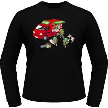 T-Shirts à manches longues  parodique Mario; Luigi; Leonardo, Raphael, Donatello et Michelangelo : Pizza Party ! (Parodie )