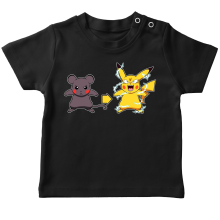 T-shirt bébé  parodique Pikachu mode Super Saiyan : Super Sourijin !! (Parodie )