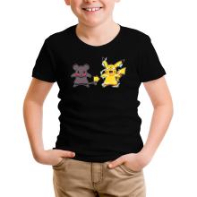 T-shirt Enfant  parodique Pikachu mode Super Saiyan : Super Sourijin !! (Parodie )