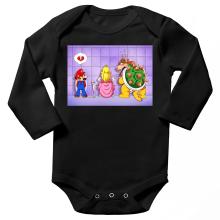 Body bébé manches longues  parodique Super Mario, Princesse Peach et Bowser : Un coeur brisé ! (Parodie )