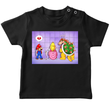 T-shirt bébé  parodique Super Mario, Princesse Peach et Bowser : Un coeur brisé ! (Parodie )
