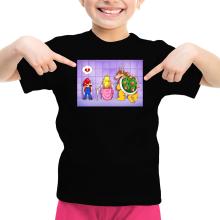 T-shirt Enfant Fille  parodique Super Mario, Princesse Peach et Bowser : Un coeur brisé ! (Parodie )