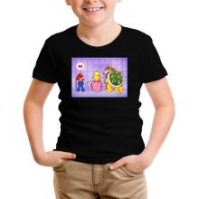 T-shirt Enfant  parodique Super Mario, Princesse Peach et Bowser : Un coeur brisé ! (Parodie )