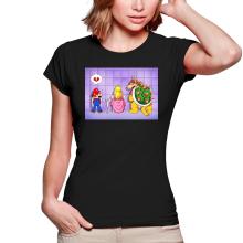 T-shirts Femmes  parodique Super Mario, Princesse Peach et Bowser : Un coeur brisé ! (Parodie )
