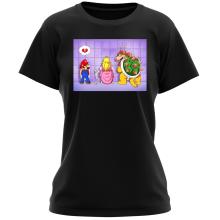 T-shirt Femme  parodique Super Mario, Princesse Peach et Bowser : Un coeur brisé ! (Parodie )