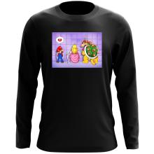 T-Shirt à manches longues  parodique Super Mario, Princesse Peach et Bowser : Un coeur brisé ! (Parodie )
