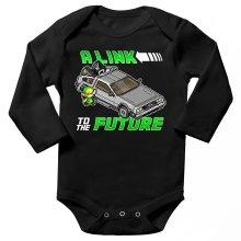 Body bébé manches longues  parodique Link et la Delorean : A Link to the Future ! (Parodie )