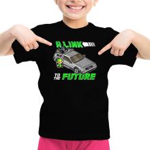 T-shirt Enfant Fille  parodique Link et la Delorean : A Link to the Future ! (Parodie )