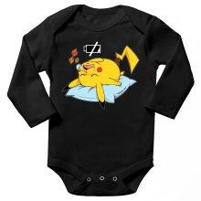 Body bébé manches longues  parodique Pikachu : Batterie Off - ZZZZ (Parodie )