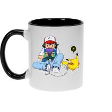 Mug  parodique Pikachu et Sasha Ketchum : Batterie de secours :) (Parodie )