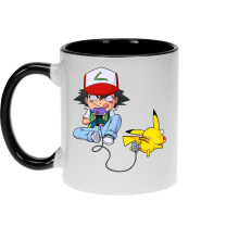 Mugs  parodique Pikachu et Sasha : Batterie de Secours (Super Deformed) (Parodie )