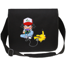 Sac bandoulière Canvas  parodique Pikachu et Sasha : Batterie de Secours (Super Deformed) (Parodie )