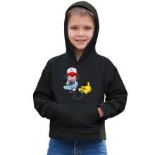 Sweat à capuche Enfant  parodique Pikachu et Sasha : Batterie de Secours (Super Deformed) (Parodie )