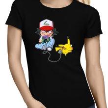 T-shirts Femmes  parodique Pikachu et Sasha : Batterie de Secours (Super Deformed) (Parodie )