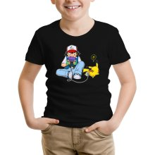 T-shirt Enfant  parodique Pikachu et Sasha Ketchum : Batterie de secours :) (Parodie )