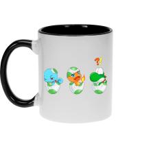 Mugs  parodique Bébé Yoshi face à Salamèche et Carapuce : Bizarre ces deux là !! (Parodie )